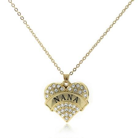 Nana Gold Pave Heart Charm Necklace (Pave Heart Charm Necklace)
