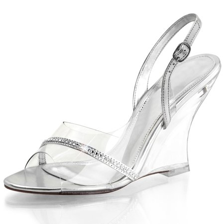 Womens Silver Wedge Shoes Sling Back Sandals 4 Inch Heels Clear Strap and (Clear Slingback)