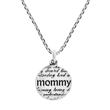 Description of My Mommy Message Charm .925 Sterling Silver Necklace