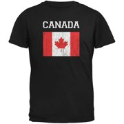 World Cup Distressed Flag Canada Black Youth T-Shirt - Youth Medium
