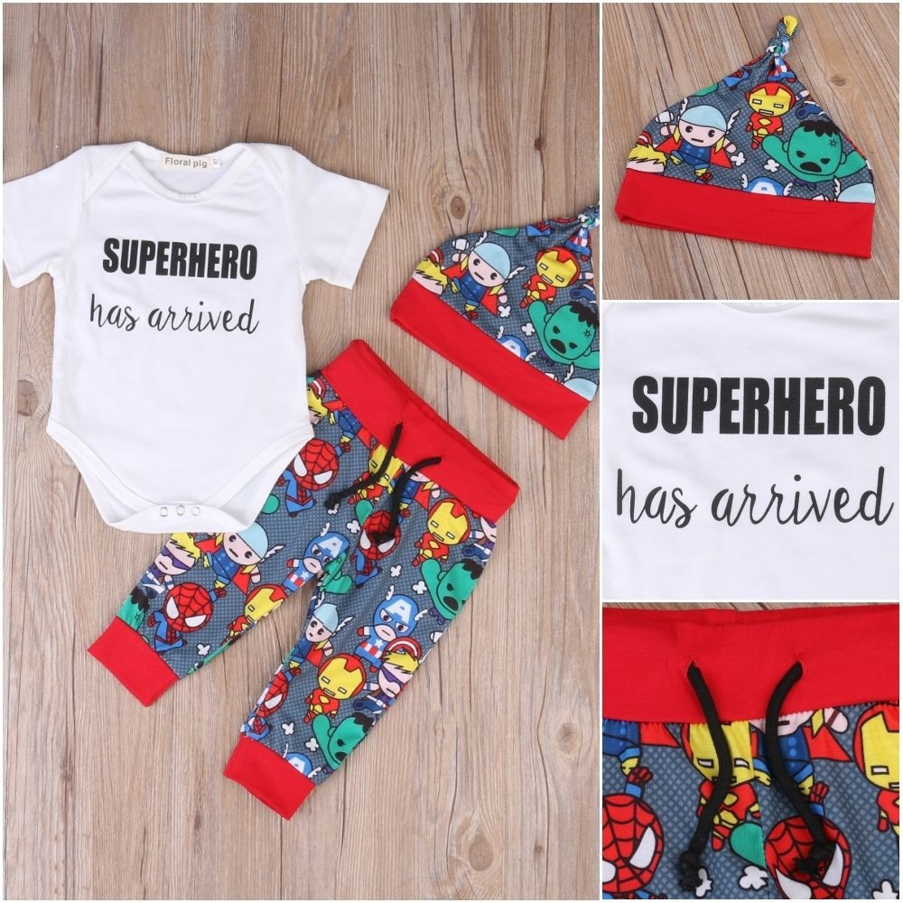 3Pcs Newborn Kids Baby Boy Clothes Romper+Pants+Hat Outfits Set