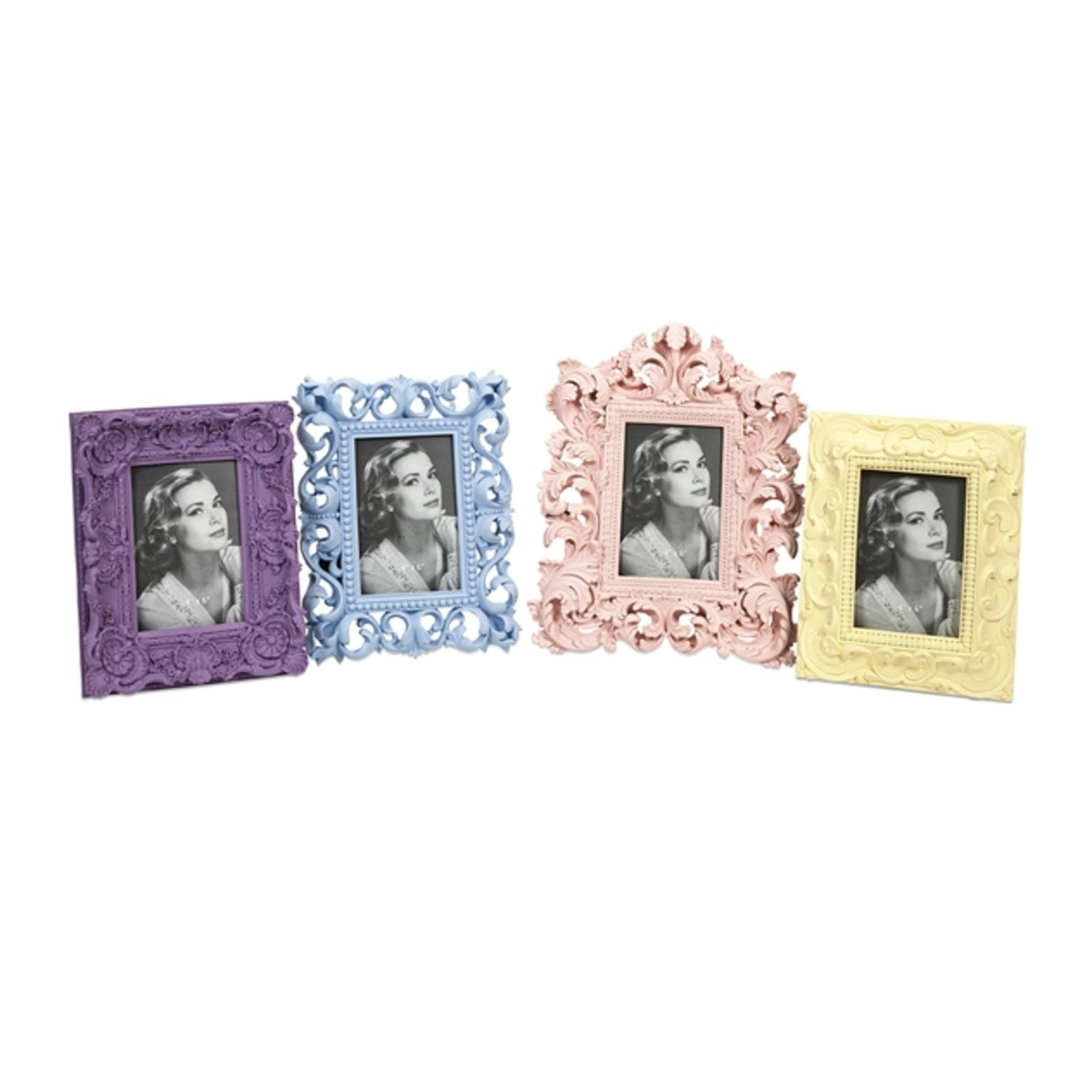 Set of 4 Victorian-Style Soft Pastel Carved Photo Frames 12.5""