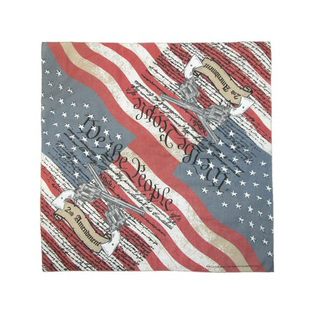 Size one size Cotton Second Amendment Bandana, Red (Cowboy Red Bandana)