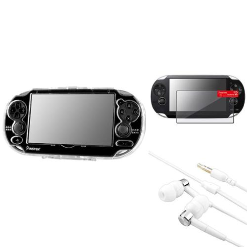Insten For Sony PS Vita PSV Clear Crystal Hard Case+Screen Protector+White Headset