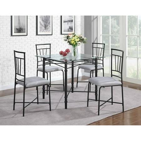 metal dining room furniture. dorel living 5piece delphine glass top metal dining set black room furniture
