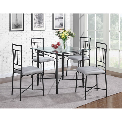 dorel living 5piece delphine glass top metal dining set black