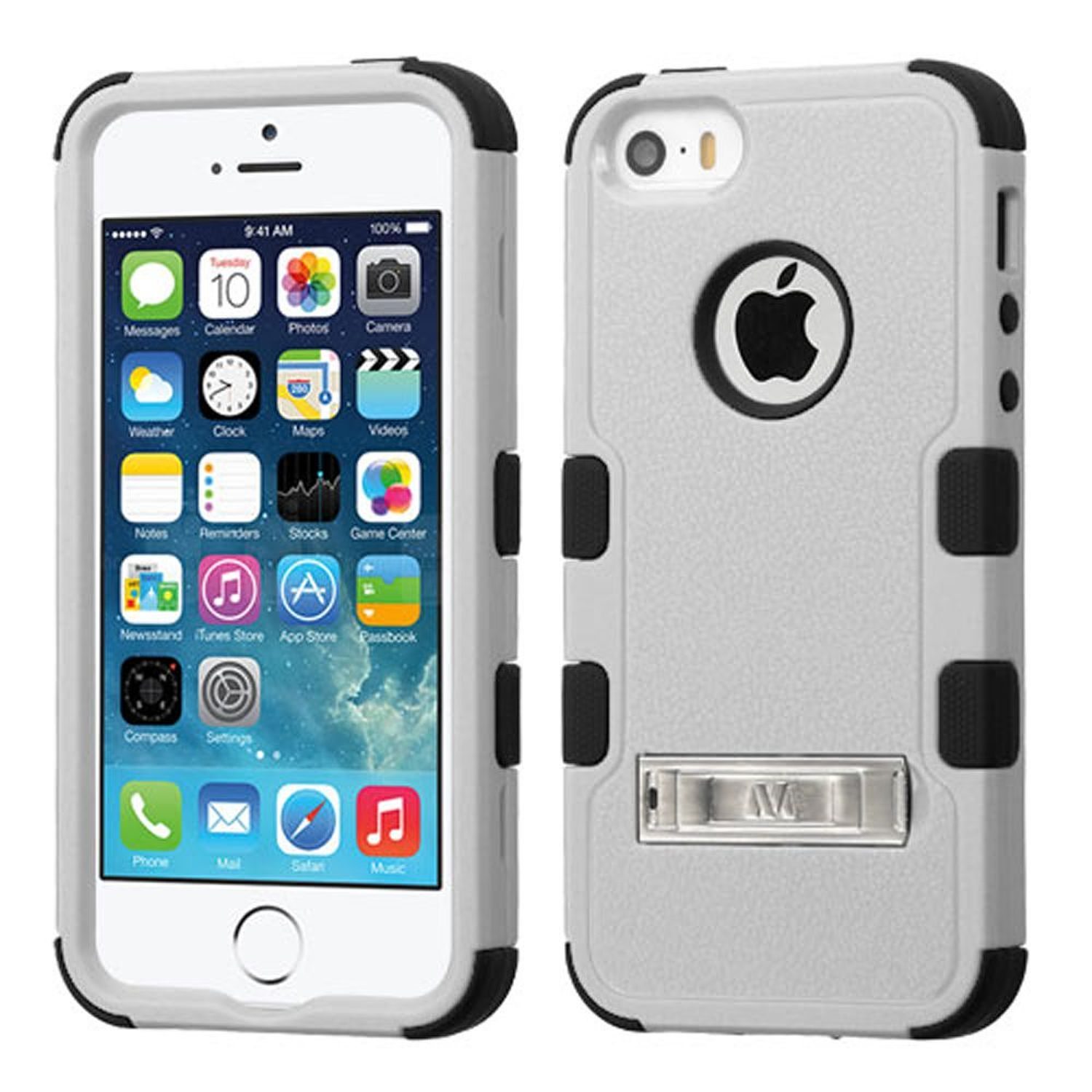 Apple iPhone SE / 5 / 5S Hard Hybrid Silicone Case w/stand by Insten - Gray/Black