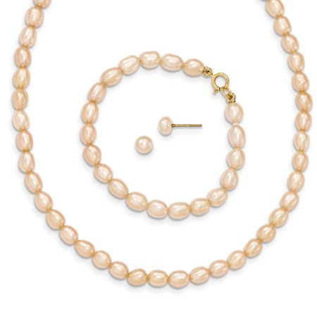 Roberto Coin Gold Jewelry Set (14k Yellow Gold Pink Freshwater Cultured Pearl 14 Chain Necklace 5 Bracelet Earrings Set Pendant Charm Fine Jewelry For Women Gift)