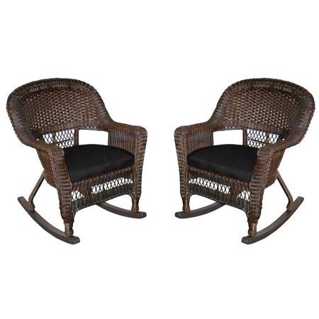 Resin Wicker Rocker Chair with Cushion by Jeco - Set of 2 ()