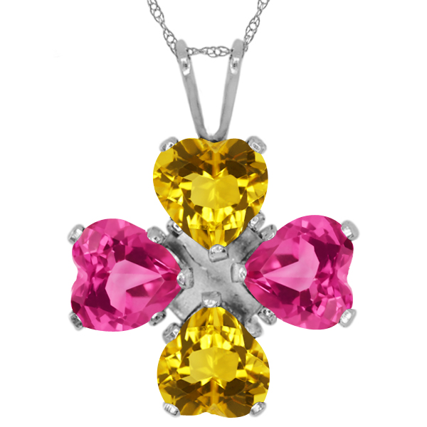 3.24 Ct Heart Shape Yellow Citrine Pink Mystic Topaz 925 Sterling Silver Pendant