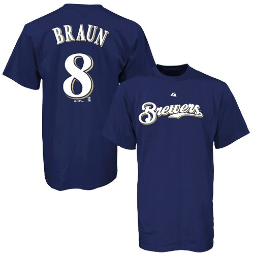 Majestic Milwaukee Brewers #8 Ryan Braun Navy Blue Player T-shirt