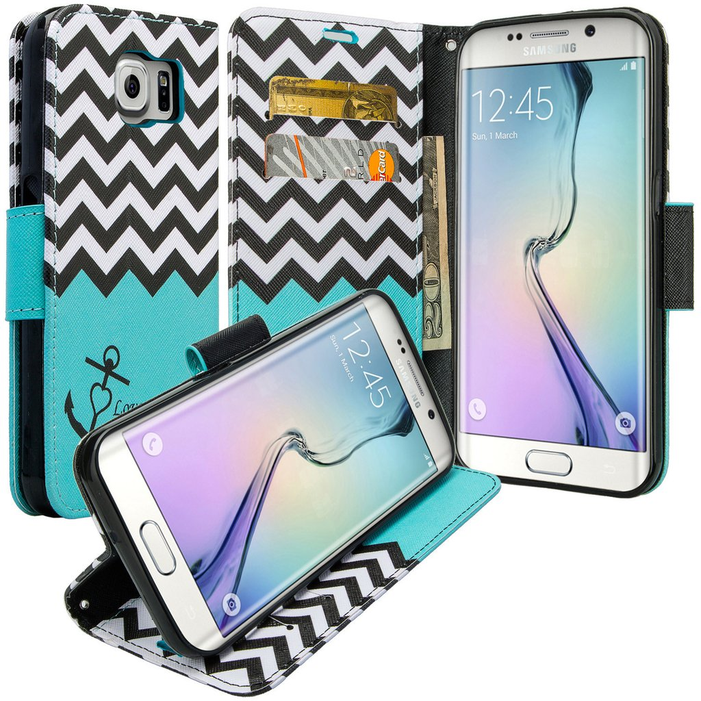 Galaxy S6 Edge Plus Case, Slim Magnetic Flip Kickstand Wrist Strap Leather Wallet Cover - Teal Anchor