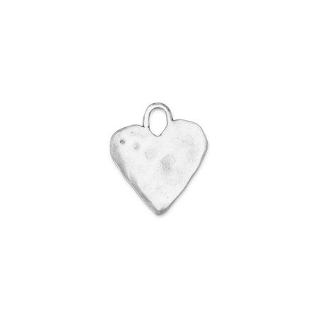 16.5mm Oxidized Textured 925 Sterling Silver Heart Pendant
