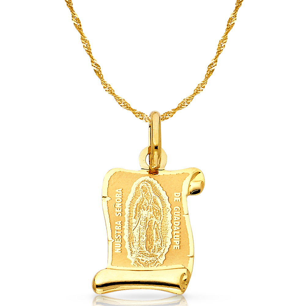 14K Yellow Gold Our Lady of Guadalupe Religious Charm Pendant For Necklace or Chain