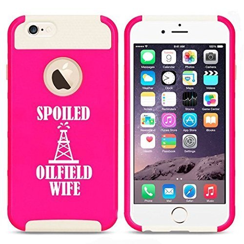 Apple iPhone 6 Plus / 6s Plus Hybrid Shockproof Impact Hard Cover / Soft Silicone Rubber Inside Case Spoiled Oilfield Wife (Hot Pink-White),MIP