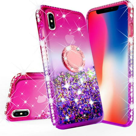 purchase cheap 6f117 2badc iPhone Xs Max Case, Glitter Liquid Floating Phone Case Girls Women  Kickstand,Bling Bumper Ring Stand Protective iPhone Xs Max, Hot Pink