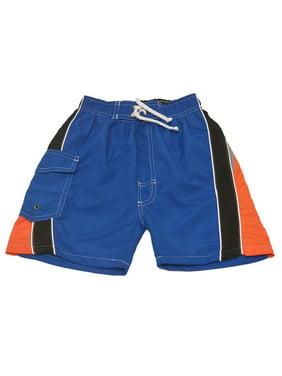 Quad Seven Little Boys Royal Blue Orange Black Paneled Swim Trunks