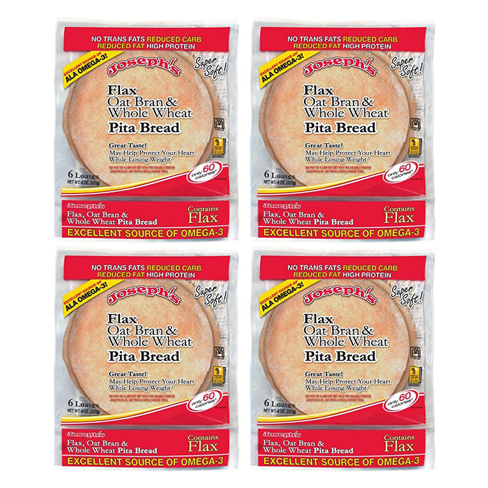 Joseph's Bakery, Flax Oat Bran and Whole Wheat Flour Pita Bread (4 Pack)