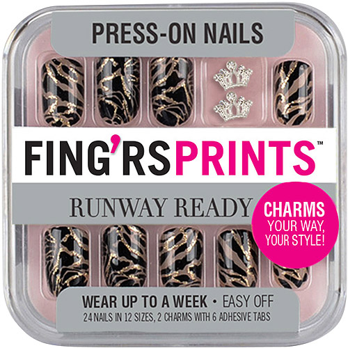 Fing'rs Prints Runway Ready Press-On Nails, Show Stopper, 26 count