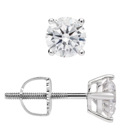14K Solid White Gold Stud Earrings | Round Cut Cubic Zirconia | Screw Back Posts | 1.0 CTW | With Gift Box