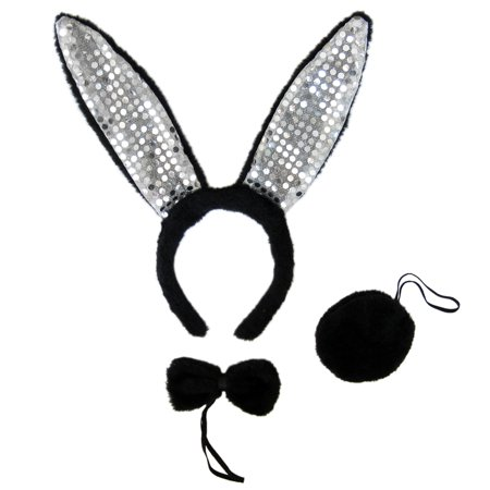 SeasonsTrading Black Plush Sequin Bunny Ears Costume Set - Rabbit Party Kit (Rabbit Block)