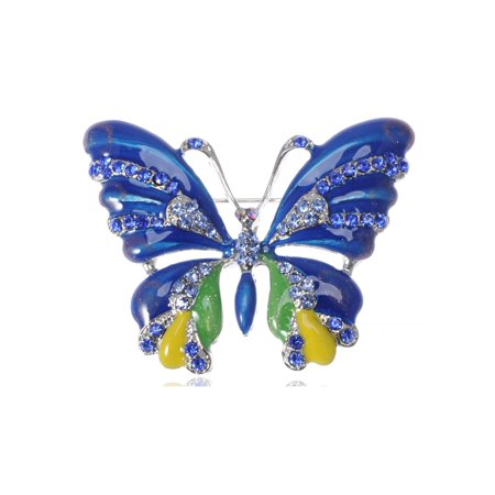 Capri Blue Crystal Rhinestone Enamel Painted Butterfly Cute Brooch Pin Pendant
