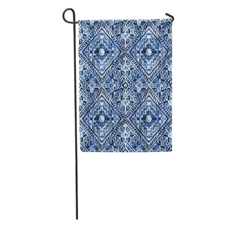 POGLIP Winter Watercolor Hand Blue Indigo Boho Pattern Watercolour Snowflak Batik Garden Flag Decorative Flag House Banner 28x40 inch - image 1 de 2