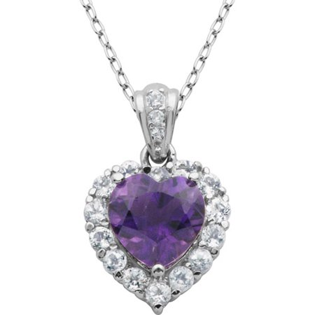 Genuine African Amethyst and White Topaz Platinum-Plated Sterling Silver Heart Pendant, (February Birthstone Heart Charm)