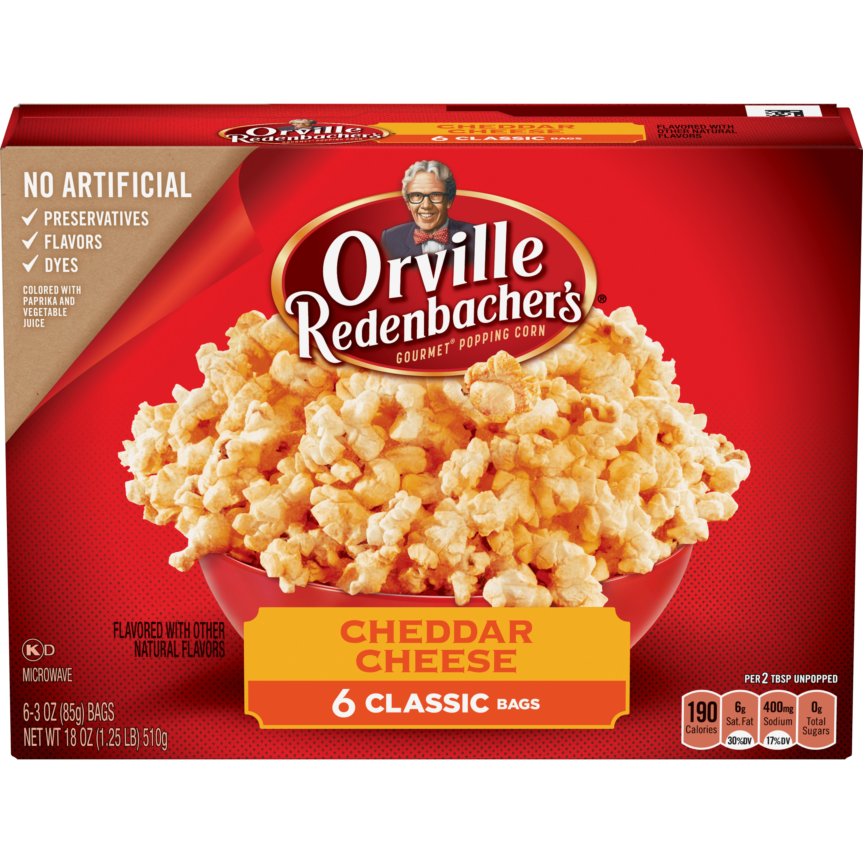 Orville Redenbacher's Gourmet Cheddar Cheese Microwave Popcorn, 6-Count