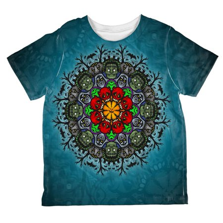Halloween Classic Movie Monster Mandala All Over Toddler T Shirt - Coloriage Mandalas Halloween