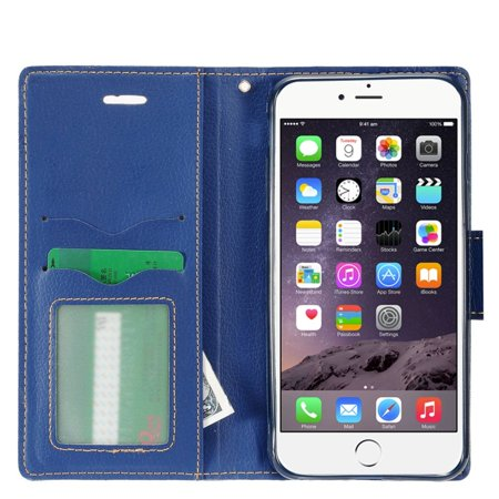 "Insten Book-Style Leather Fabric Cover Stand Card Case w/Photo Display for Apple iPhone 8 Plus / iPhone 7 Plus (5.5"") - Blue - image 2 de 4"