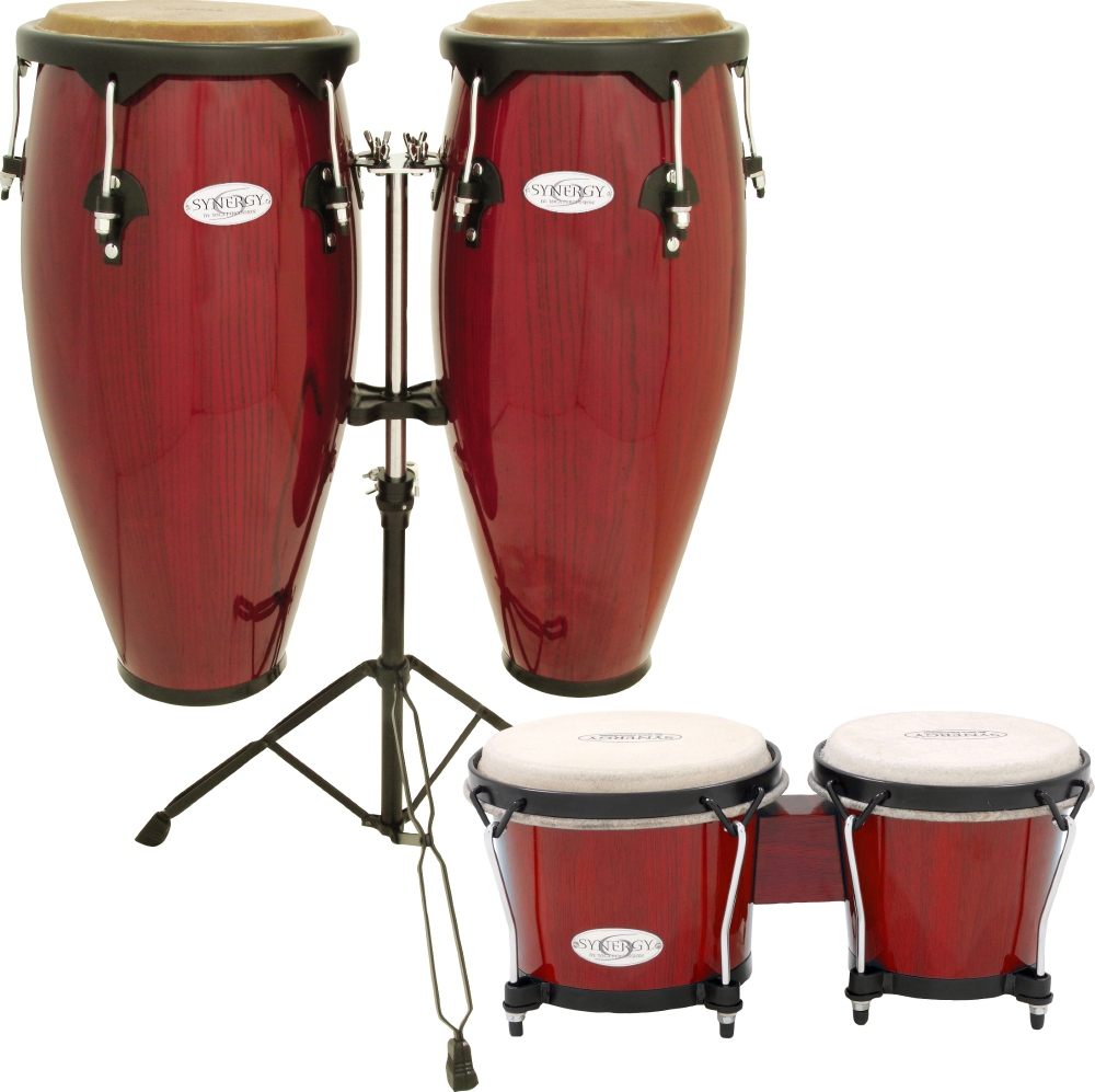 Toca Synergy Conga Set with Stand and Bongos Red by Toca