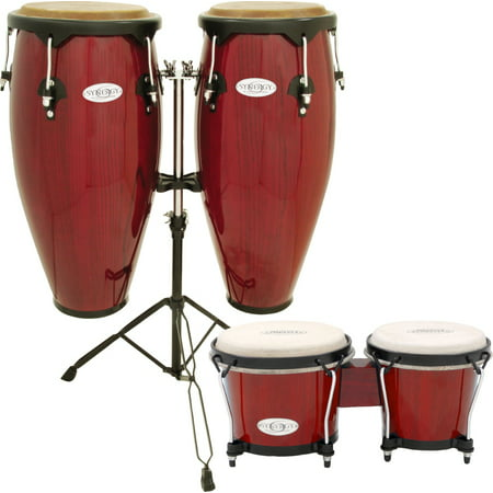 Requinto Conga - Toca Synergy Conga Set with Stand and Bongos Red