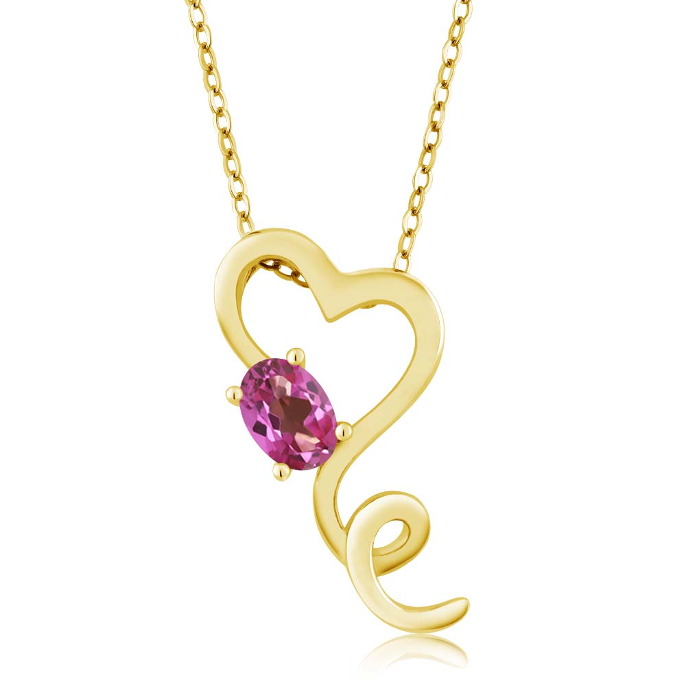 0.55 Ct Oval Pink Mystic Topaz 14k Yellow Gold Pendant