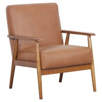 HomeFare Wood Frame Mid-Century Modern Accent Chair in Cognac Brown