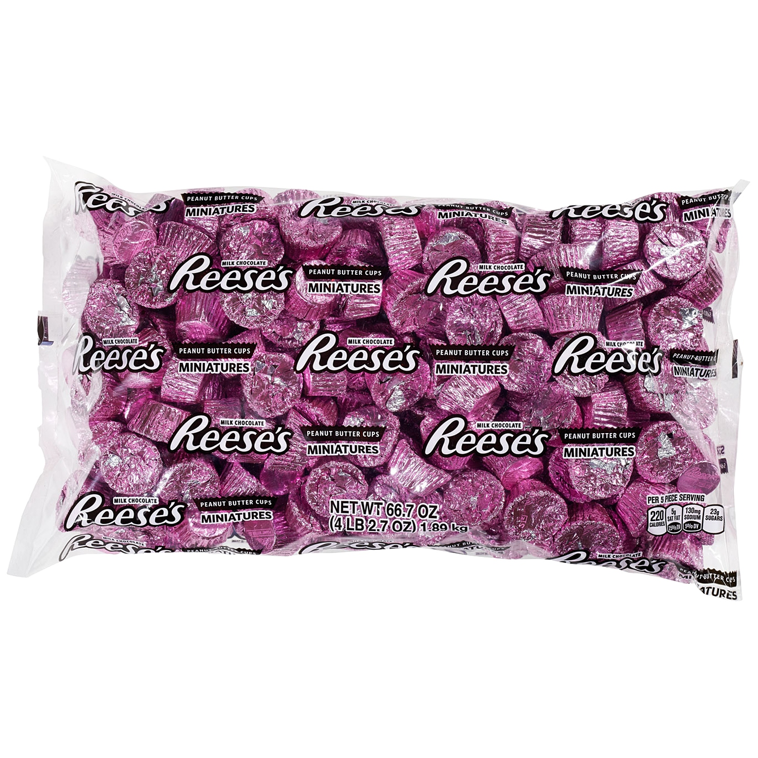 Reese's, Peanut Butter Cups Chocolate Candy Miniatures, Pink Foil, 66.7 Oz - Online Only
