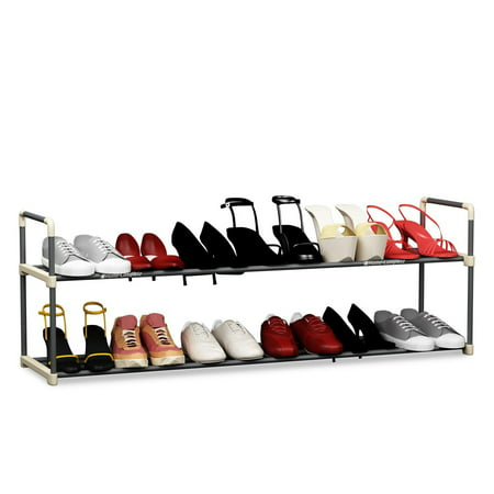 Shoe Rack with 2 Shelves Hold 12 Pairs by Home-Complete Plastic Shoe Rack