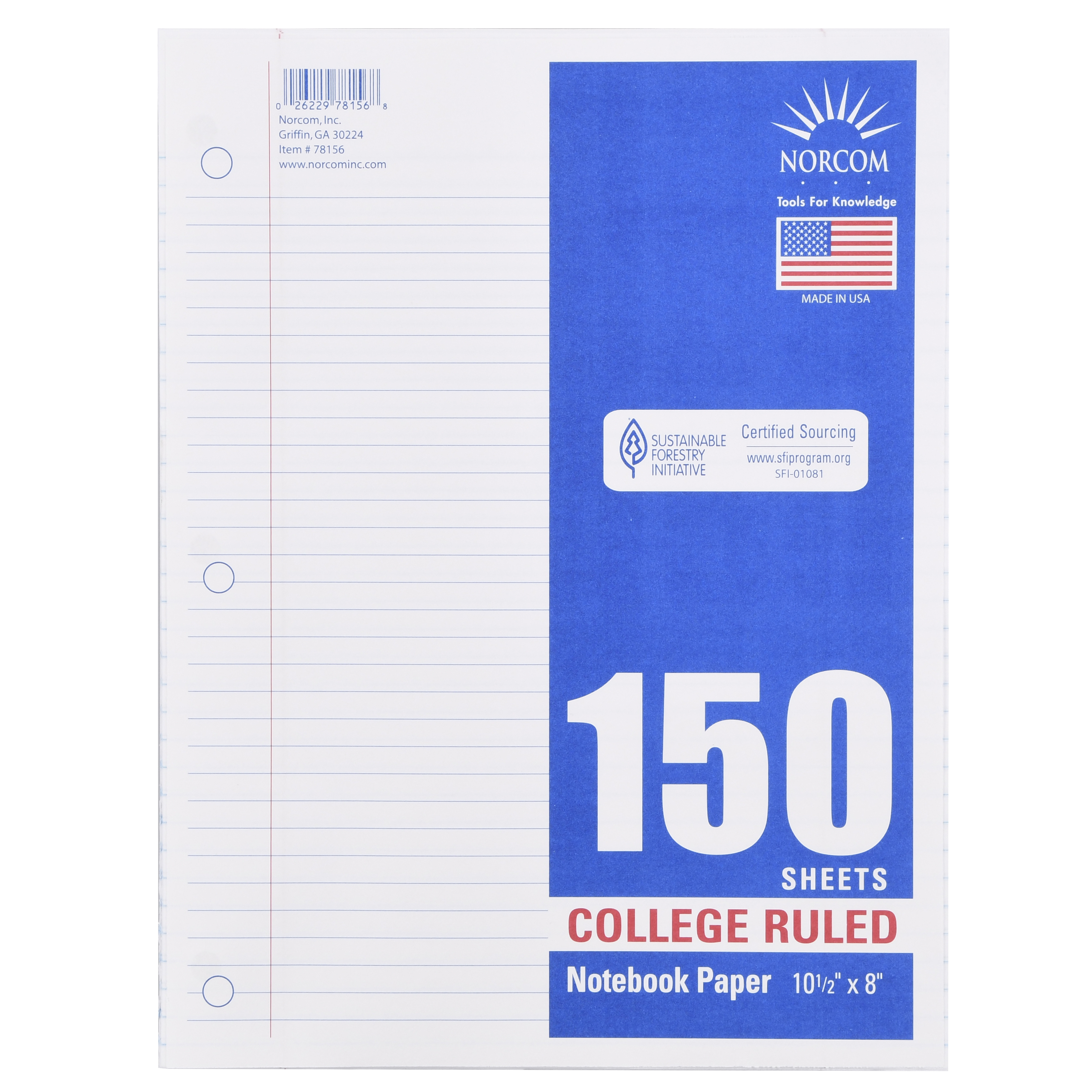 "Norcom 150 Sheets College Ruled Filler Paper, 10.5"" x 8"""