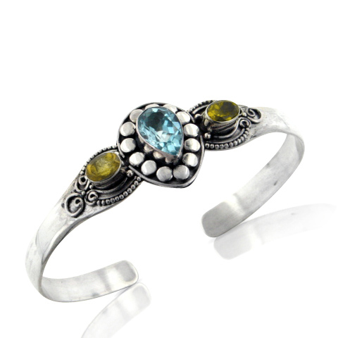 Genuine Citrine and Blue Topaz Sterling Silver Cuff Bracelet by