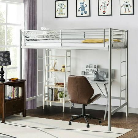 Gymax Twin Loft Bed Metal Bunk Ladder Beds Boys Girls Teens Kids Bedroom Dorm - Metal Loft Bunk Bed