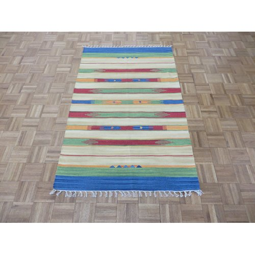 Bungalow Rose Pasuruan Kilim Flat Weave Hand-Woven Reversible Hand-Knotted Wool Yellow/Green Area Rug