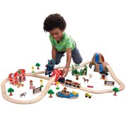 KidKraft Wooden Farm Train Set with 75 Pieces Included, Children's Toy Vehicle Playset