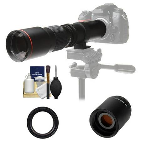 - Vivitar 500mm f/8.0 Telephoto Lens with 2x Teleconverter (=1000mm) + Kit for Canon EOS 6D, 70D, 7D, 5DS, 5D Mark II III, Rebel T5, T5i, T6i, T6s, SL1 Camera
