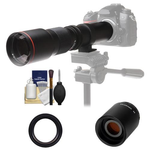 Vivitar 500mm f/8.0 Telephoto Lens with 2x Teleconverter (=1000mm) + Kit for Canon EOS 6D, 70D, 7D, 5DS, 5D Mark II III, Rebel T5, T5i, T6i, T6s, SL1 Camera