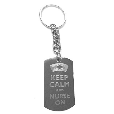 Nurse Keychain Ring (Keep Calm and Nurse On - Metal Ring Key Chain)