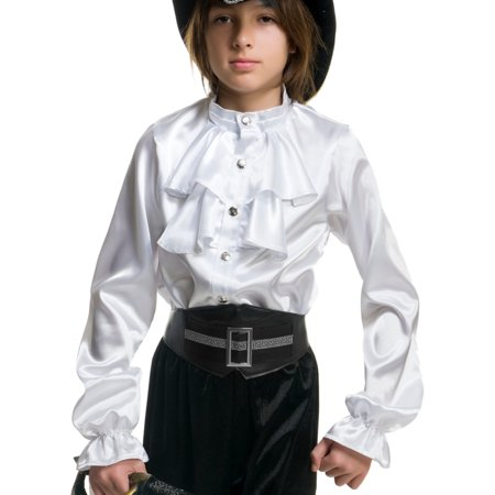 Child Boys White Premium Kids 2-Tier Ruffle Satin Pirate