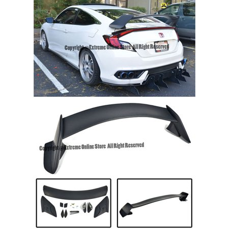 Honda Civic Hybrid Trunk - Type R Style ABS Plastic Rear Trunk Lid Wing Spoiler Lip For 16-Up Honda Civic 2Dr Coupe 2016 2017 16 17 JDM Type-R