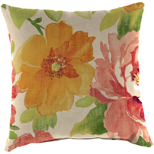Jordan Manufacturing Indoor/Outdoor Patio Square Toss Pillow, Muree Primrose