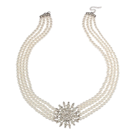 Faux Pearl Necklaces In Bulk (Lux Accessories Faux Pearl Flower Sun Star Pave Multi Row Statement)