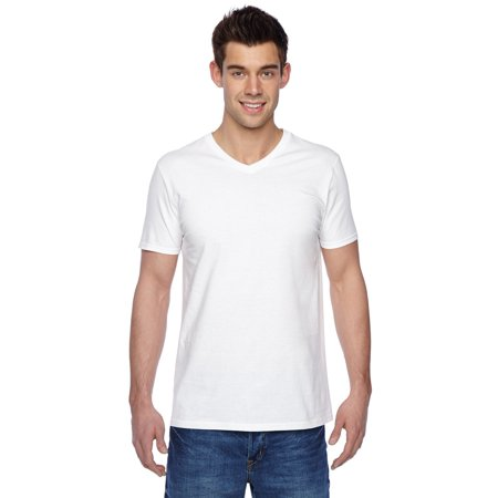 Branded Fruit of the Loom Adult 47 oz Sofspun Jersey V-Neck T-Shirt - WHITE - XL (Instant Saving 5% & more on min
